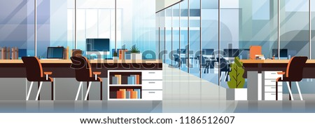 Coworking office interior modern center creative workplace environment horizontal banner empty workspace flat vector illustration Royalty-Free Stock Photo #1186512607