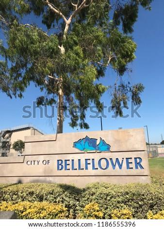 Bellflower, California, USA. September 22, 2018. Sign when entering the city of Bellflower in Los Angeles County, California. #1186555396
