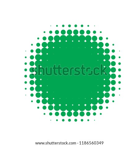 Green halftone circles, dots pattern, vector, grunge. Comic texture background. Monochrome half-tone. Circle halftone Dots, White and organic geometric gradient for pop art designs. #1186560349