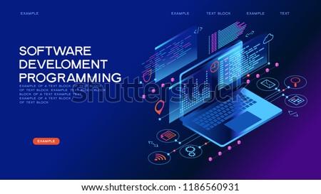 Technology concept. Programming web banner. Best programming languages. Technology process of Software development