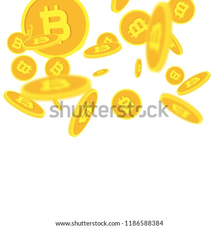 Bitcoins money falling. Currency or cryptocurrency emblem in flat style. Bit coin and blockchain technology concept isolated on white background. Vector illustration. #1186588384