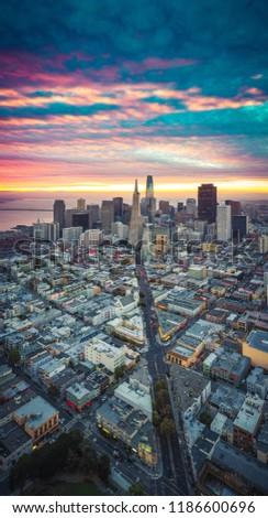 San Francisco Skyline with Dramatic Clouds at Sunrise, California, USA #1186600696