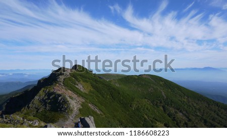 Ridgeline from Mount Yoko (aka Yoko-dake), Japan. Mount Yoko is known for its jagged ridgeline. #1186608223