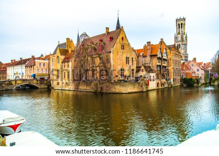 Quay of the Rosary (Rozenhoedkaai) and Dijver canal in the old town of Bruges (Brugge), Belgium #1186641745
