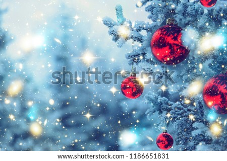 Border winter nature christmas background with frozen spruce, glitter lights, bokeh, snow. View through white frost pine branch. Happy new year. Text space. Elements of this Image Furnished by NASA #1186651831