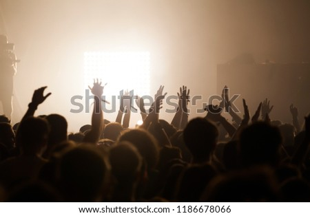 Crowd at concert - Cheering crowd in bright colorful stage lights #1186678066