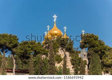 Church of Mary Magdalene, a Russian Orthodox church located on the Mount of Olives, near the Garden of Gethsemane in East Jerusalem #1186693942