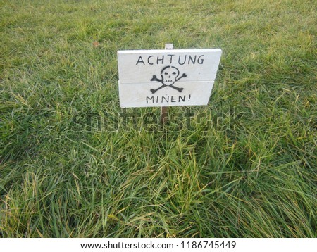 German sign on the grass #1186745449