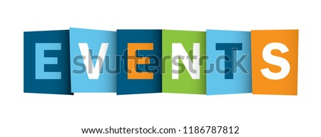 EVENTS letters banner Royalty-Free Stock Photo #1186787812