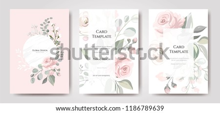 Set of card with flower rose, leaves. Wedding ornament concept. Floral poster, invite. Vector decorative greeting card or invitation design background Royalty-Free Stock Photo #1186789639