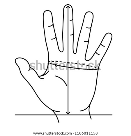 Measuring Hand for Gloves. Defining correct hand size. To find out glove size, measure around hand with a tape measure across palm. Measuring the distance between the marks. Vector flat outline icon.
