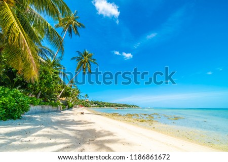 Beautiful tropical beach sea and sand with coconut palm tree on blue sky and white cloud for travel and vacation #1186861672