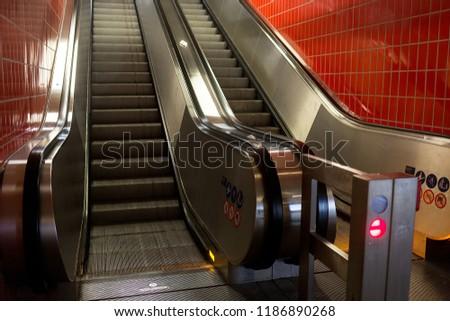 escalator in the subway #1186890268