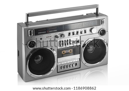 Retro ghetto blaster isolated on white. #1186908862