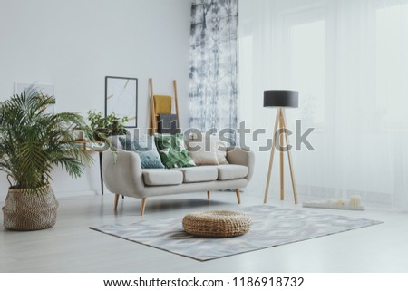 Settee between plant and lamp in bright living room interior with pouf on carpet and poster #1186918732