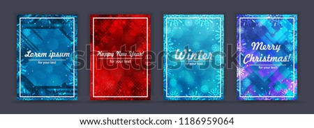 Set winter backgrounds. Winter frame with snowflakes. Christmas Greeting Card. New Year background with space for your text. Winter template. Christmas backdrop. New Year flyer.