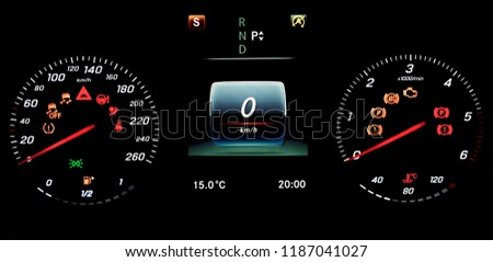 A car instrument panel with speedometer, tachometer, odometer, fuel gauge, car's temperature gauge, TPMS icon, check engine, airbag and brake system icons. A photo on isolated background. #1187041027