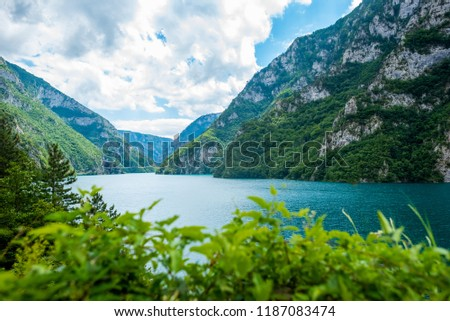 beautiful landscape of Piva Lake (Pivsko Jezero) in Montenegro #1187083474