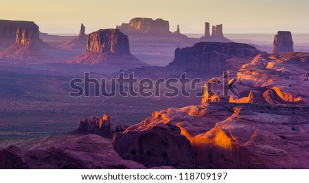 Sunset over the Hunt's Mesa Royalty-Free Stock Photo #118709197