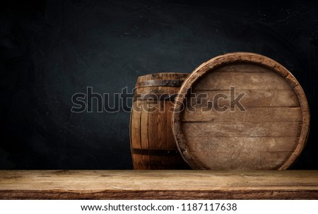 background of barrel and worn old table of wood #1187117638
