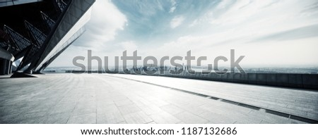 empty floor with modern cityscape in new york #1187132686