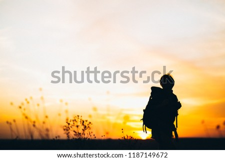 Woman hiking in the mountains #1187149672