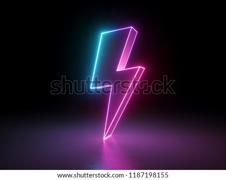 3d render, lightning, electric power symbol, retro neon glowing sign isolated on black background, ultraviolet light, electric lamp, speed metaphor, electricity icon, fluorescent element