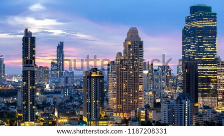 Bangkok City - Aerial view  beautiful sunset  Bangkok city downtown skyline of Thailand , cityscape at night  , landscape Bangkok Thailand #1187208331