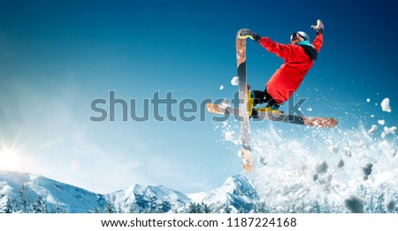Skiing. Jumping skier. Extreme winter sports. #1187224168