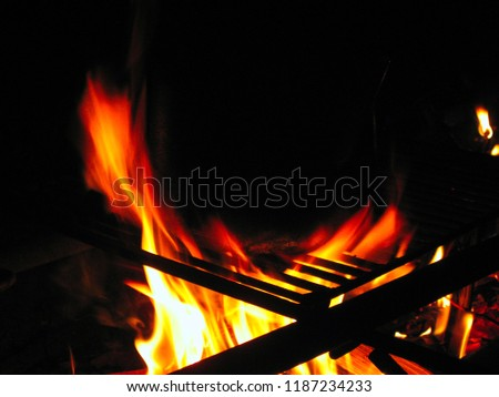 Pot on the fire at night #1187234233