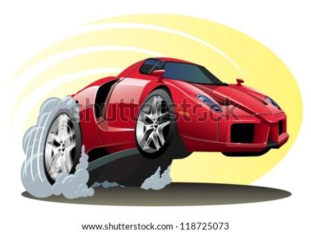 Vector red cartoon sportcar