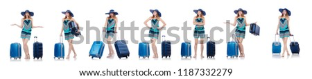 Woman going to summer vacation isolated on white #1187332279