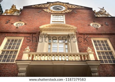 Facade of Old State House building in  Boston Massachusetts