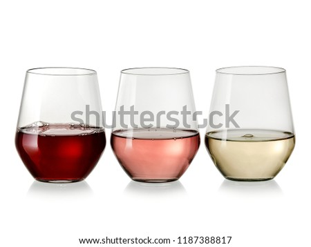 Red, white and rose wine glasses in line #1187388817