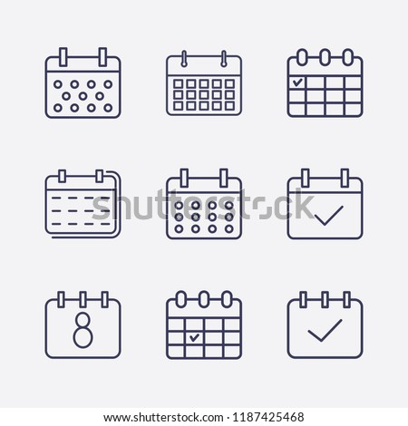 Outline 9 week icon set. calendar check and calendar vector illustration Royalty-Free Stock Photo #1187425468
