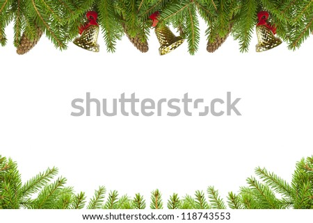Spruce branches with cones and bells on a white background #118743553