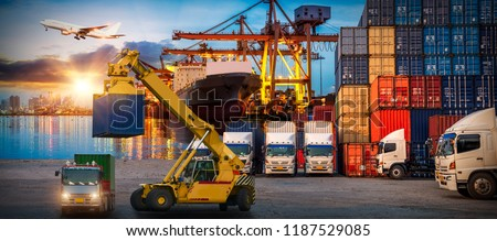 Logistics and transportation of Container Cargo ship and Cargo plane with working crane bridge in shipyard at sunrise, logistic import export and transport industry background #1187529085