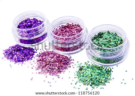 Picture of three different kinds of nail glitters.
