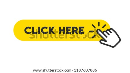 Click here button with hand pointer clicking Royalty-Free Stock Photo #1187607886