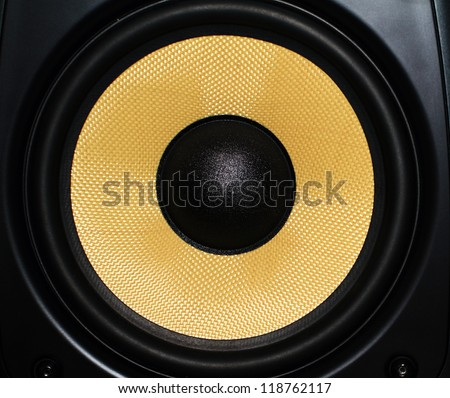 Closeup of a yellow speaker sub woofer #118762117