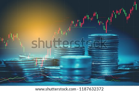 Double exposure of graph , stationary and rows of coins for goal office , finance and business concept background and forex trading graph with economy trends business or finance background. #1187632372