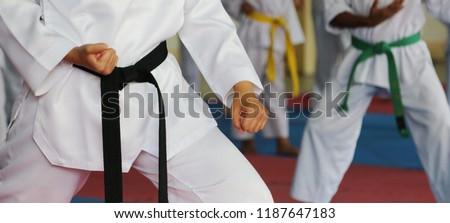 Taekwondo kids athletes. Moment of athlete to warm up and strike an opponent during the tournament taekwondo kids #1187647183