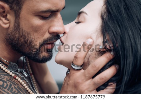 Sensual couple kiss. I Love You. Couple In Love. Romantic and love. Intimate relationship and sexual relations. Dominant man. Closeup mouths kissing. Passion and sensual touch #1187675779