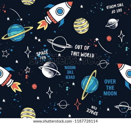 Hand drawn space elements seamless pattern. Space background. Space doodle illustration. Vector illustration. Seamless pattern with cartoon space rockets, planets, stars, slogans Royalty-Free Stock Photo #1187728114