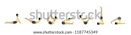 Woman in yellow in various yoga poses #1187745349