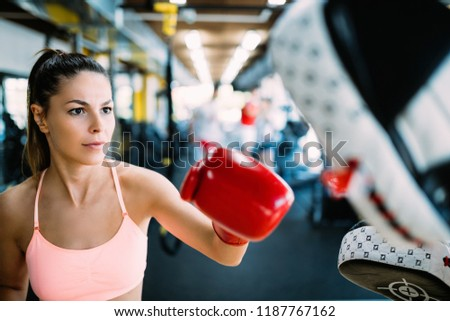Boxing workout woman in fitness class ring #1187767162