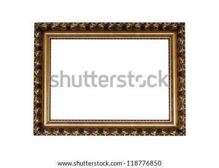 Golden vintage picture frame with white background #118776850