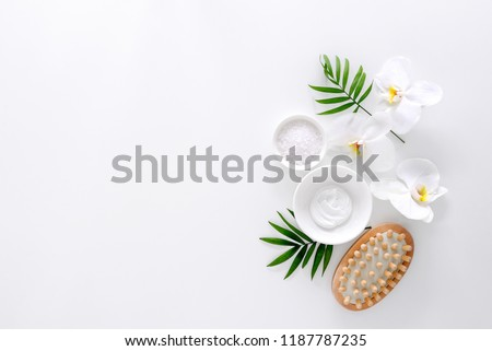 Spa treatment concept, flat lay composition with natural cosmetic products and massage brush, view from above, blank space for a text #1187787235