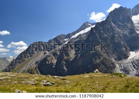 Landscapes of the Hautes-Alpes, Mountains,  Pic de la Meije, La Grave, snow-covered glacier, Alps, France
