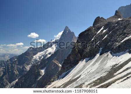 Landscapes of the Hautes-Alpes, Pic de la Meije, snow-covered glacier, La Grave, Alps, France